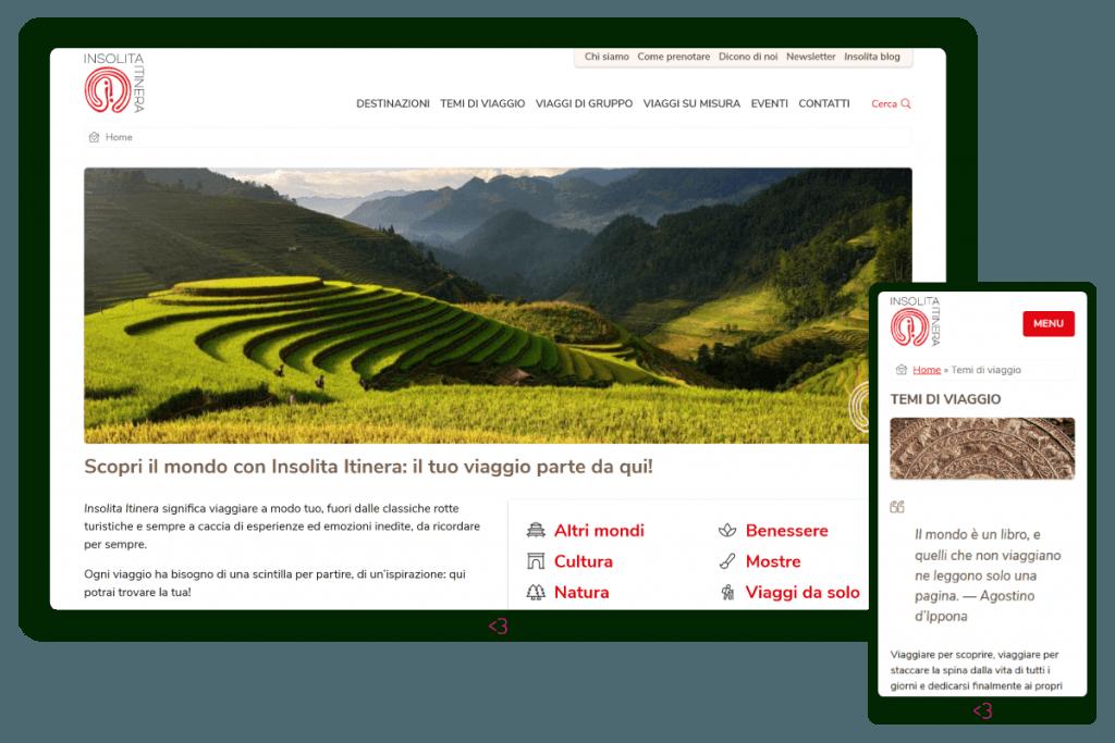 Screenshot dal sito web Insolita Itinera