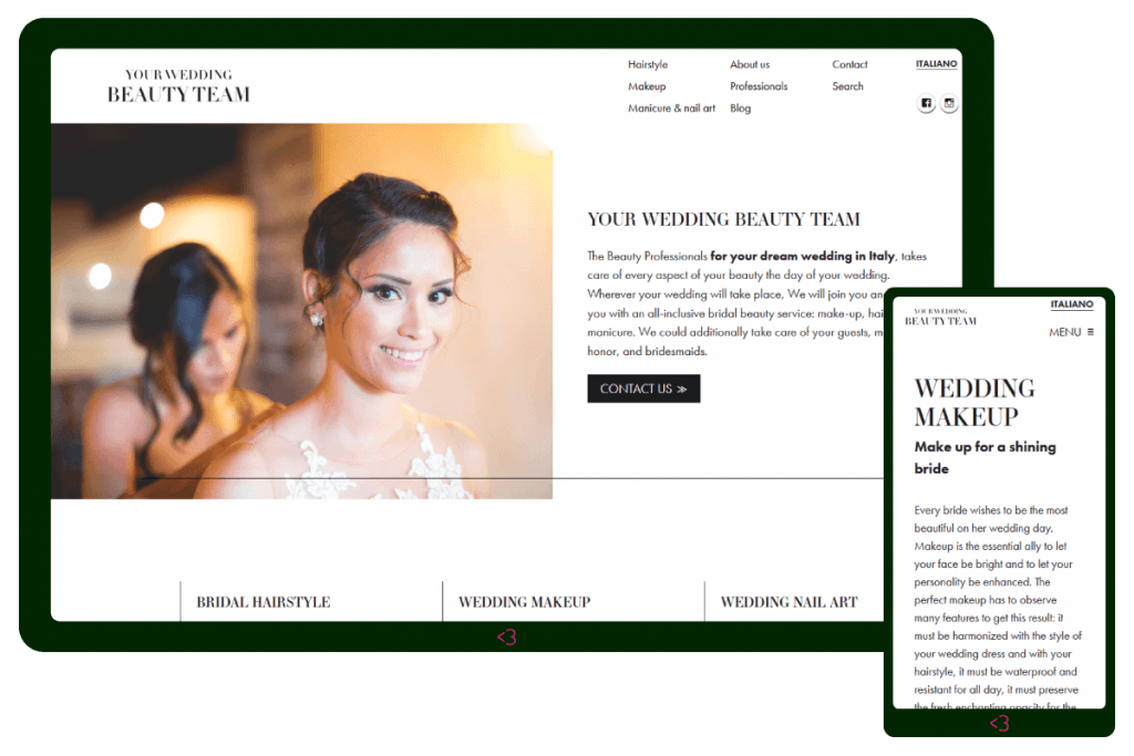 Screenshot dal sito web Your Wedding Beauty Team